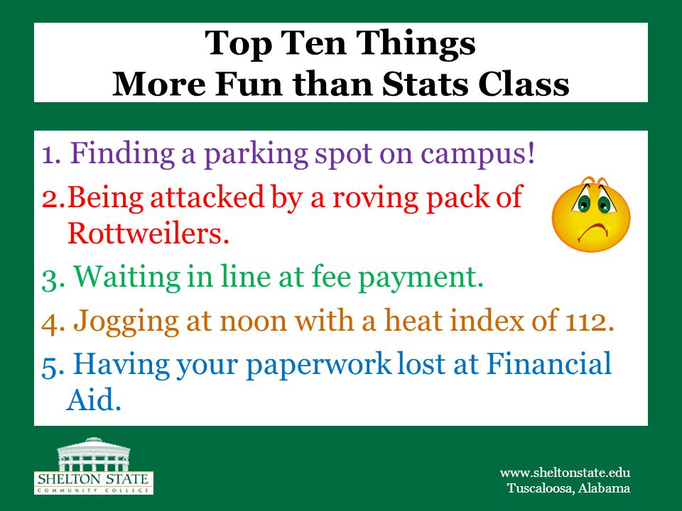 www.sheltonstate.edu Tuscaloosa, Alabama Top Ten Things More Fun than Stats Class 1.