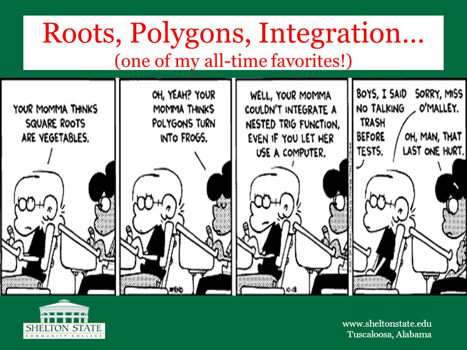 www.sheltonstate.edu Tuscaloosa, Alabama Roots, Polygons, Integration… (one of my all-time favorites!)