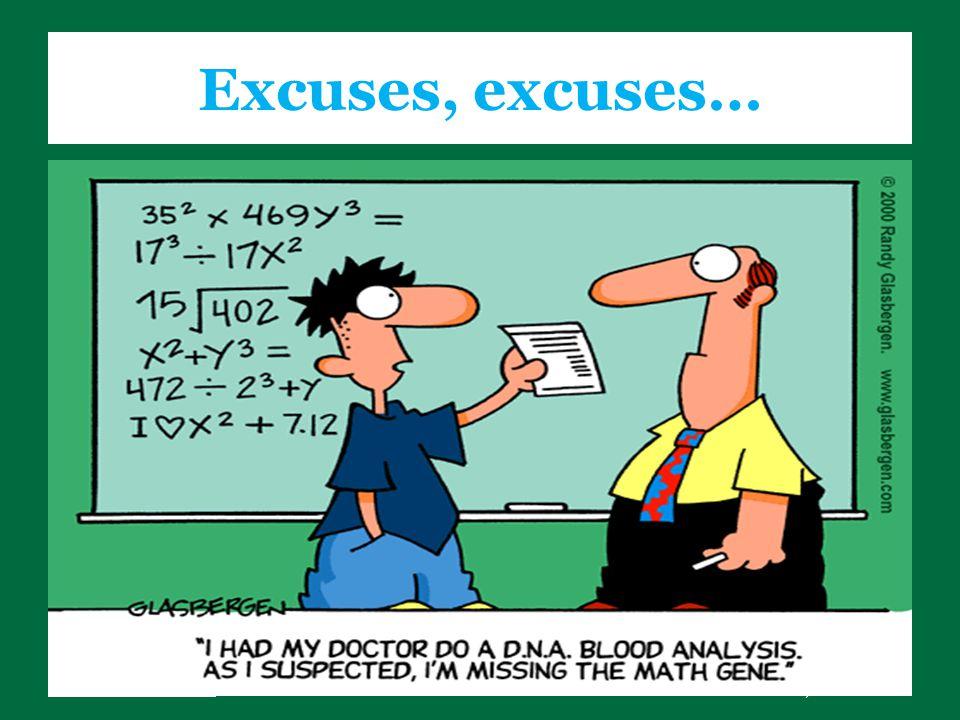 www.sheltonstate.edu Tuscaloosa, Alabama Excuses, excuses…