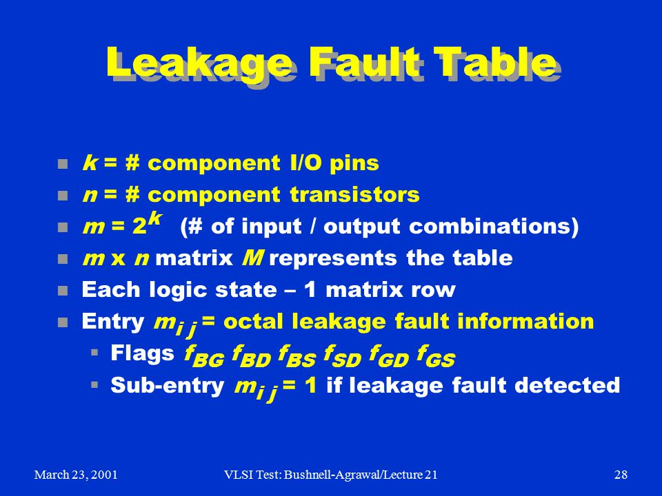 March 23, 2001VLSI Test: Bushnell-Agrawal/Lecture 2128 Leakage Fault Table n k = # component I/O pins n n = # component transistors n m = 2 k (# of input / output combinations) n m x n matrix M represents the table n Each logic state – 1 matrix row n Entry m i j = octal leakage fault information  Flags f BG f BD f BS f SD f GD f GS  Sub-entry m i j = 1 if leakage fault detected