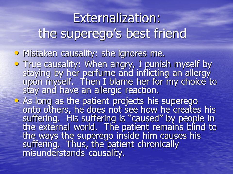 Externalization: the superego's best friend Externalization: the superego's best friend Mistaken causality: she ignores me. Mistaken causality: she ig