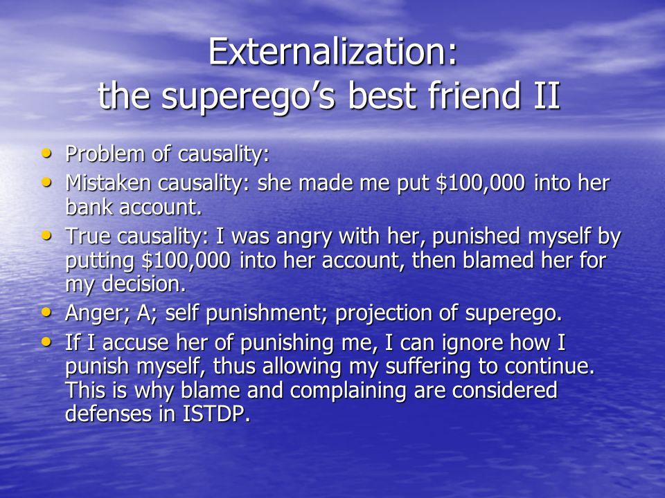 Externalization: the superego's best friend II Externalization: the superego's best friend II Problem of causality: Problem of causality: Mistaken cau