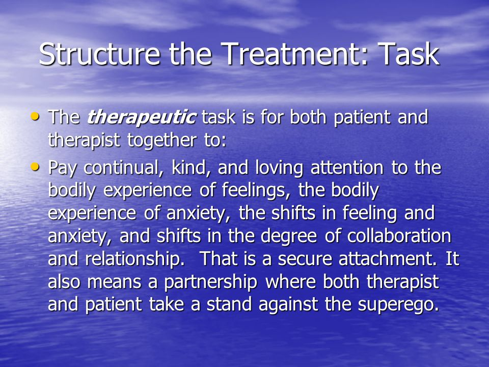 Structure the Treatment: Task Structure the Treatment: Task The therapeutic task is for both patient and therapist together to: The therapeutic task i