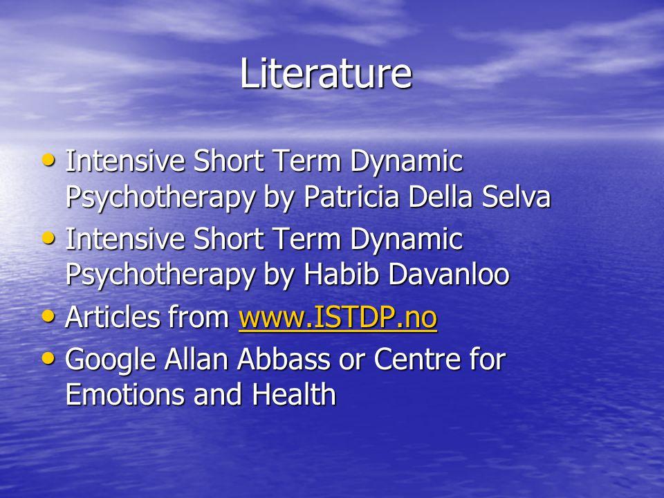 Literature Intensive Short Term Dynamic Psychotherapy by Patricia Della Selva Intensive Short Term Dynamic Psychotherapy by Patricia Della Selva Inten