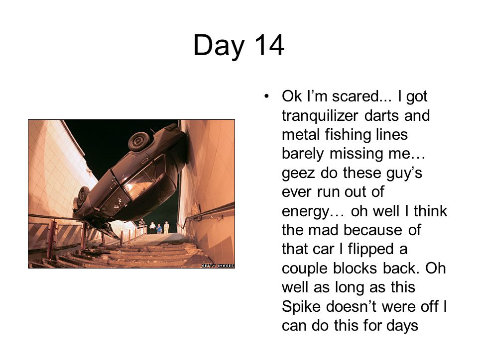 Day 14 Ok I'm scared... I got tranquilizer darts and metal fishing lines barely missing me… geez do these guy's ever run out of energy… oh well I thin