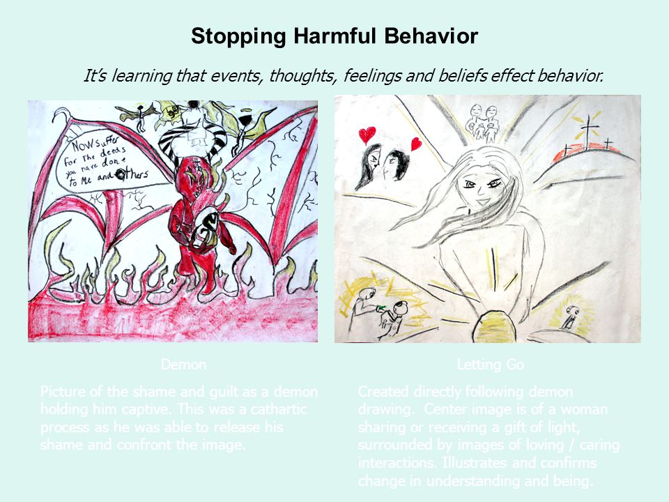 Stopping Harmful Behavior Demon Picture of the shame and guilt as a demon holding him captive.