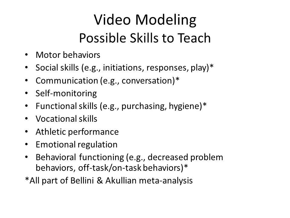 Video Modeling Possible Skills to Teach Motor behaviors Social skills (e.g., initiations, responses, play)* Communication (e.g., conversation)* Self-m