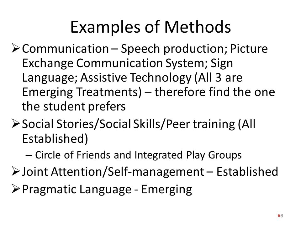 Examples of Methods  Communication – Speech production; Picture Exchange Communication System; Sign Language; Assistive Technology (All 3 are Emergin