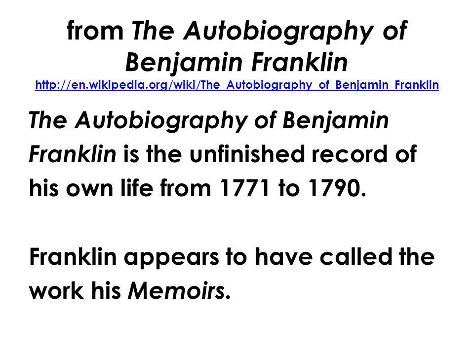 English 11 Literature #6 Mr. Rinka Benjamin Franklin