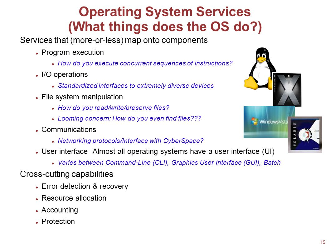 15 Operating System Services (What things does the OS do?)‏ Services that (more-or-less) map onto components Program execution How do you execute conc