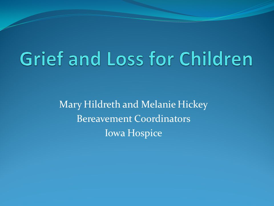 Mary Hildreth and Melanie Hickey Bereavement Coordinators Iowa Hospice