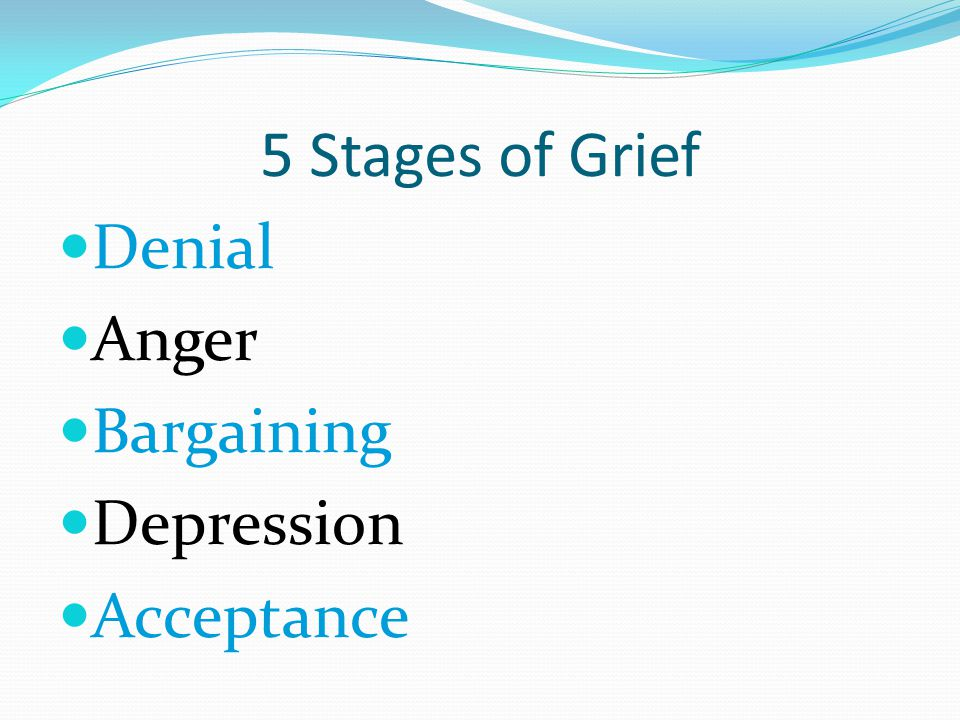 Denial Anger Bargaining Depression Acceptance 5 Stages of Grief