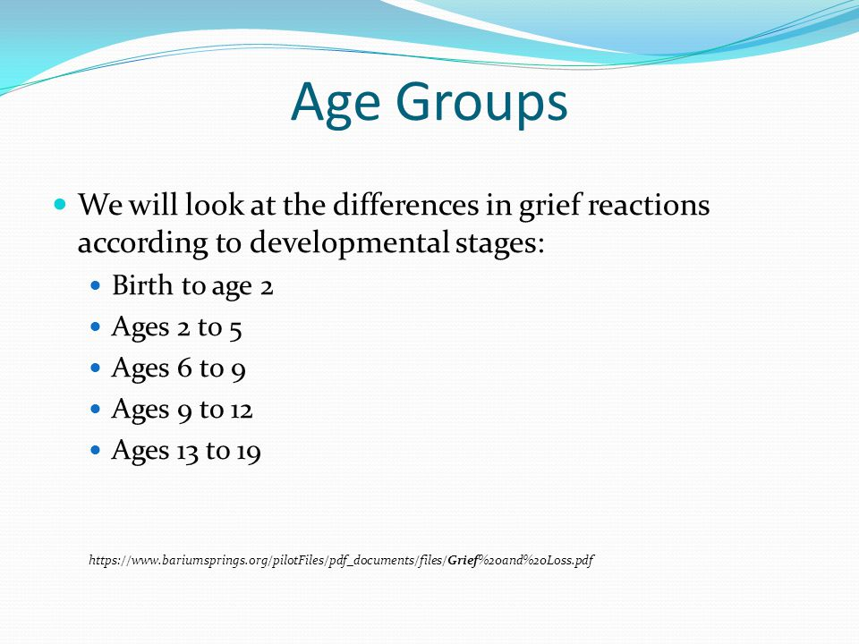 Age Groups We will look at the differences in grief reactions according to developmental stages: Birth to age 2 Ages 2 to 5 Ages 6 to 9 Ages 9 to 12 Ages 13 to 19 https://www.bariumsprings.org/pilotFiles/pdf_documents/files/Grief%20and%20Loss.pdf