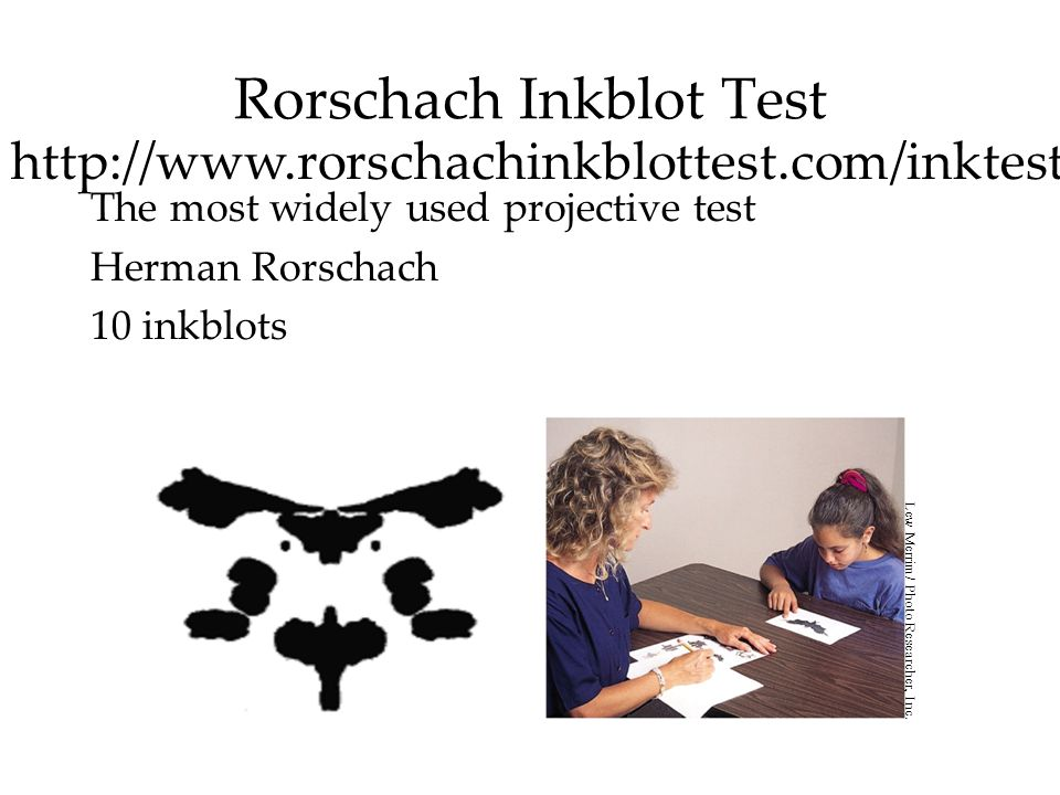 Rorschach Inkblot Test The most widely used projective test Herman Rorschach 10 inkblots Lew Merrim/ Photo Researcher, Inc.