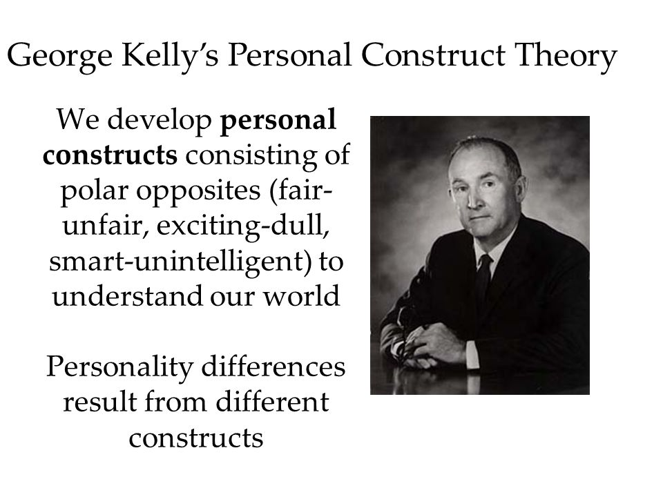We develop personal constructs consisting of polar opposites (fair- unfair, exciting-dull, smart-unintelligent) to understand our world Personality differences result from different constructs George Kelly's Personal Construct Theory