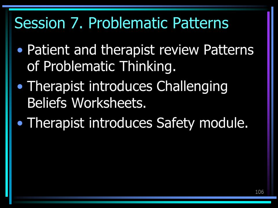 106 Session 7. Problematic Patterns Patient and therapist review Patterns of Problematic Thinking. Therapist introduces Challenging Beliefs Worksheets
