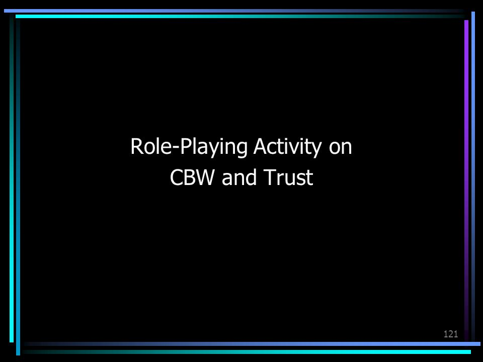 121 Role-Playing Activity on CBW and Trust