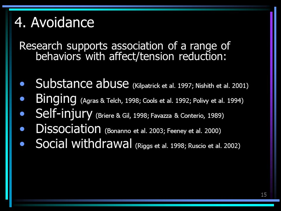 15 4. Avoidance Research supports association of a range of behaviors with affect/tension reduction: Substance abuse (Kilpatrick et al. 1997; Nishith