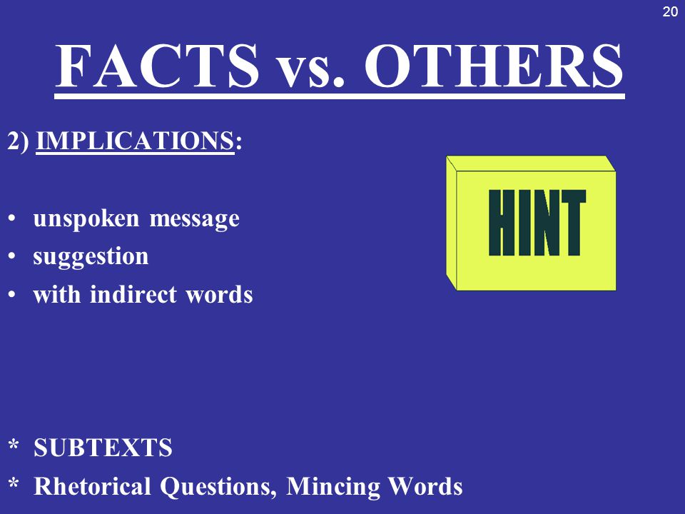 20 FACTS vs. OTHERS 2) IMPLICATIONS: unspoken message suggestion with indirect words * SUBTEXTS * Rhetorical Questions, Mincing Words