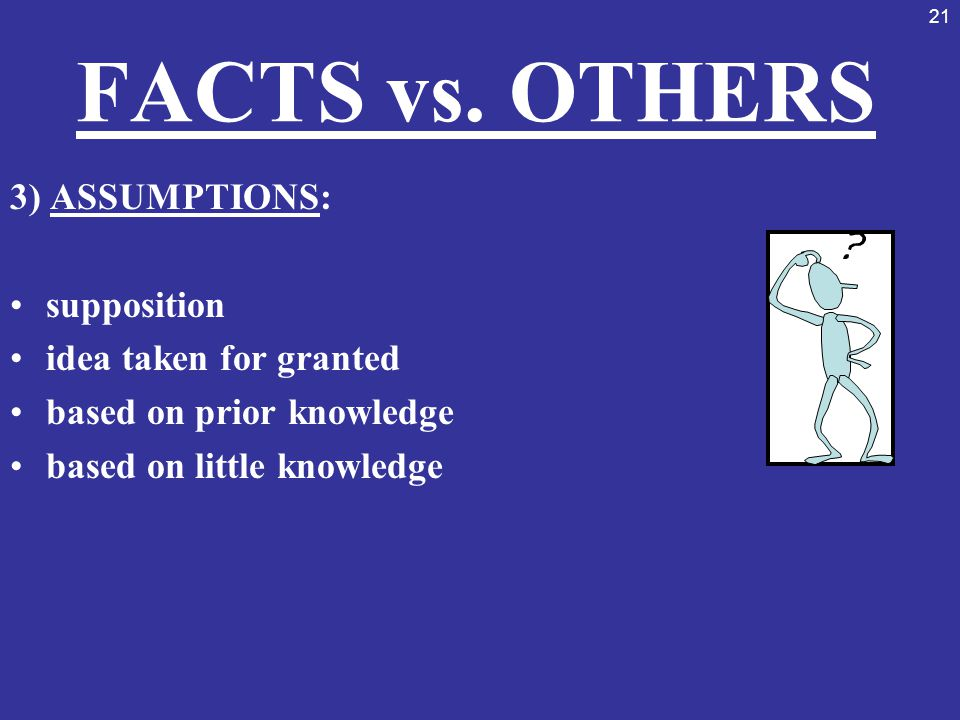 21 FACTS vs. OTHERS 3) ASSUMPTIONS: supposition idea taken for granted based on prior knowledge based on little knowledge