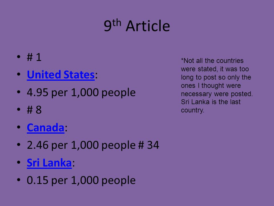 9 th Article # 1 United States: United States 4.95 per 1,000 people # 8 Canada: Canada 2.46 per 1,000 people # 34 Sri Lanka: Sri Lanka 0.15 per 1,000