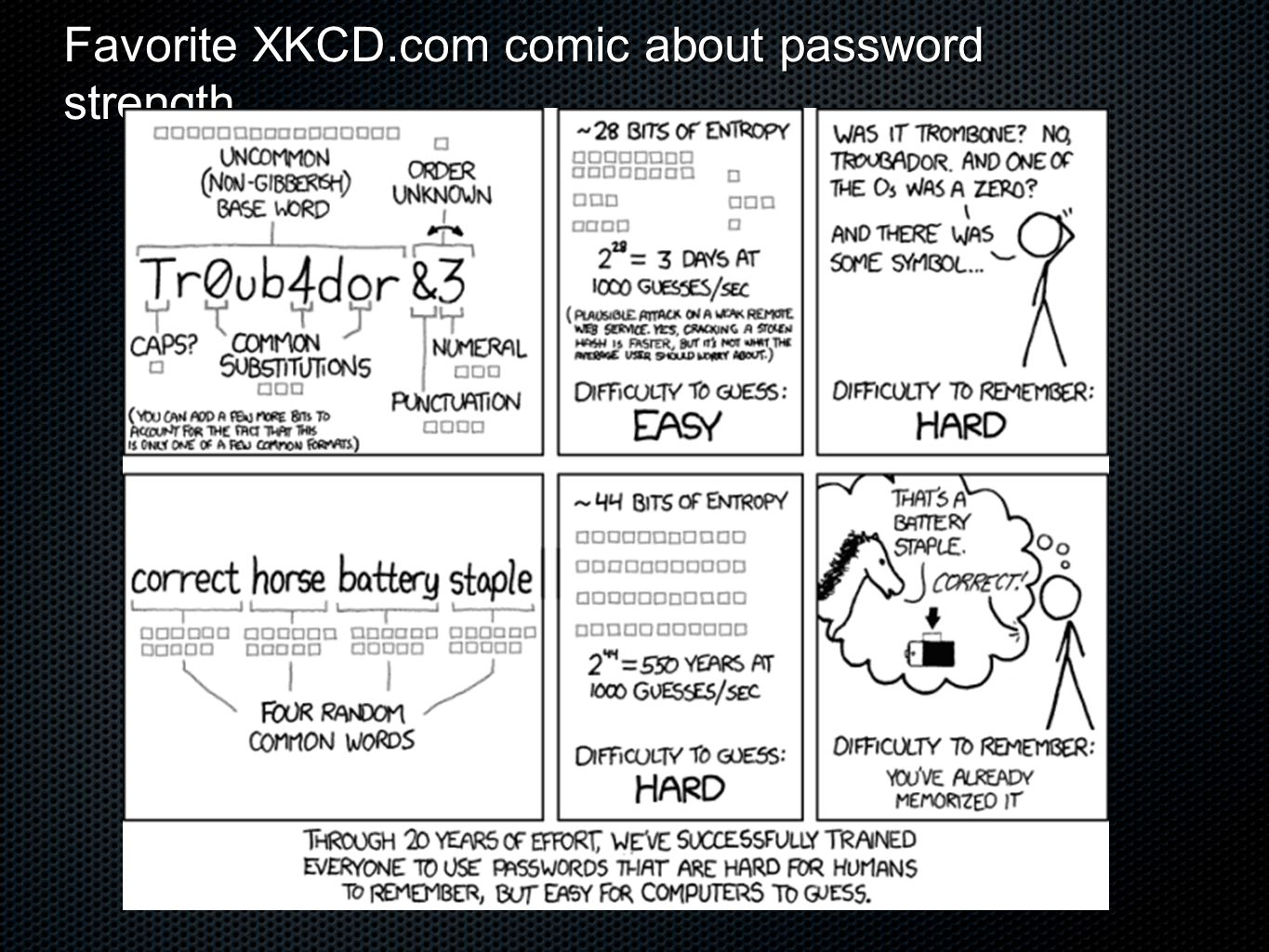 Favorite XKCD.com comic about password strength
