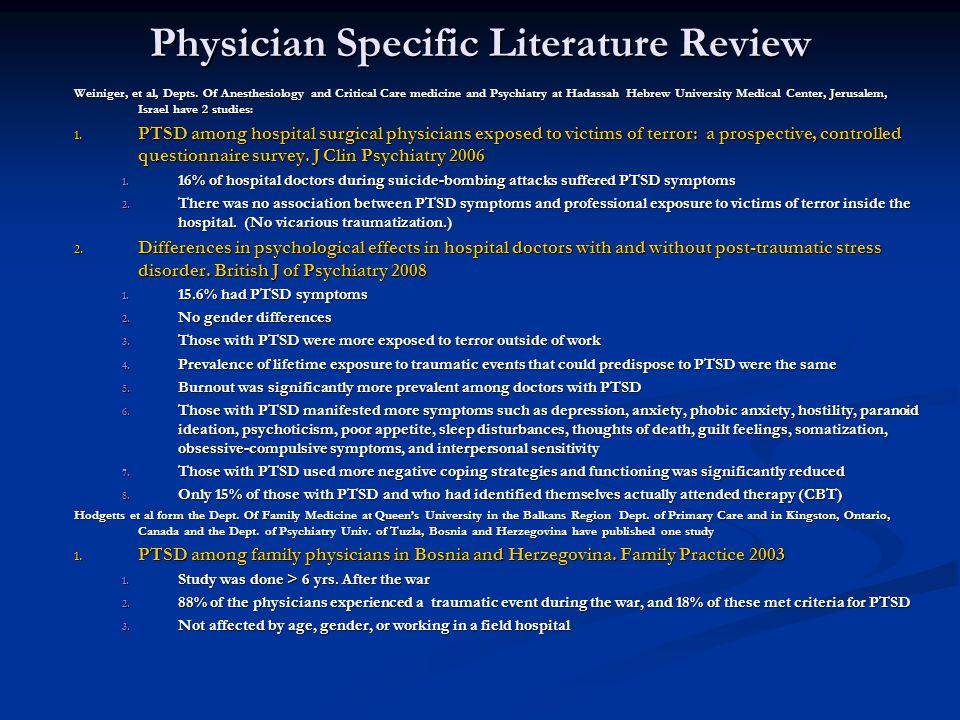 Physician Specific Literature Review Weiniger, et al, Depts.