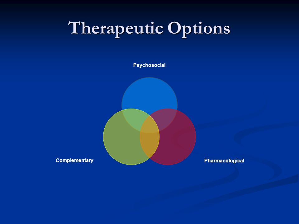 Therapeutic Options Psychosocial PharmacologicalComplementary