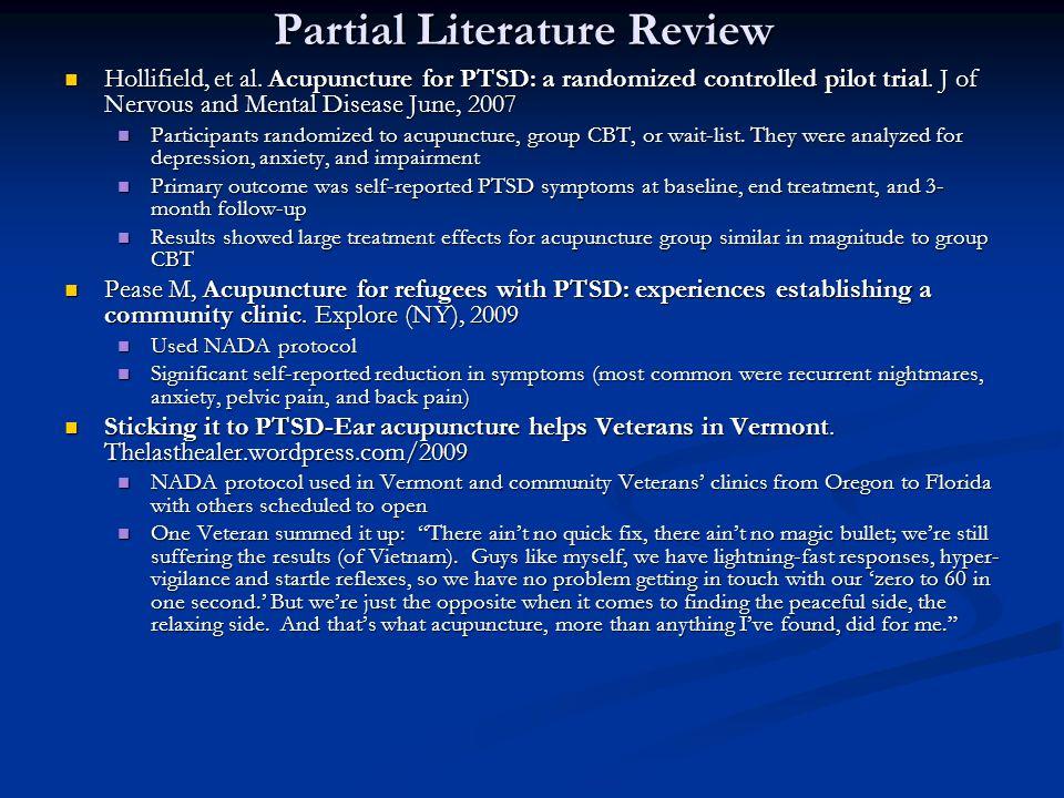 Partial Literature Review Hollifield, et al.
