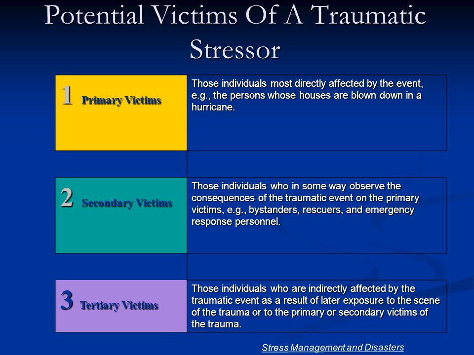 Potential Victims Of A Traumatic Stressor 1 Primary Victims Those individuals most directly affected by the event, e.g., the persons whose houses are