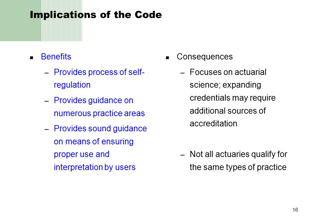 16 Implications of the Code Benefits – Provides process of self- regulation – Provides guidance on numerous practice areas – Provides sound guidance o