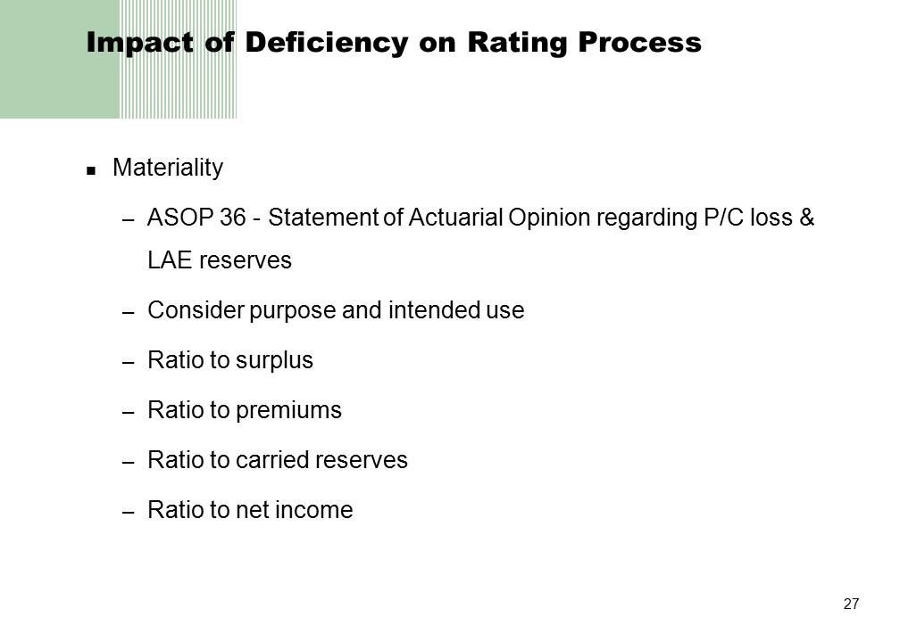 27 Impact of Deficiency on Rating Process Materiality – ASOP 36 - Statement of Actuarial Opinion regarding P/C loss & LAE reserves – Consider purpose