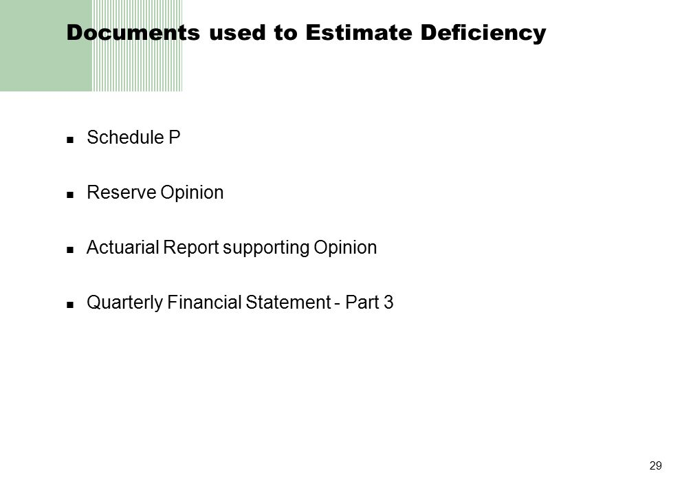 29 Documents used to Estimate Deficiency Schedule P Reserve Opinion Actuarial Report supporting Opinion Quarterly Financial Statement - Part 3