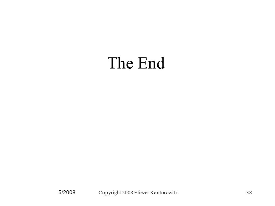 The End 5/2008Copyright 2008 Eliezer Kantorowitz38