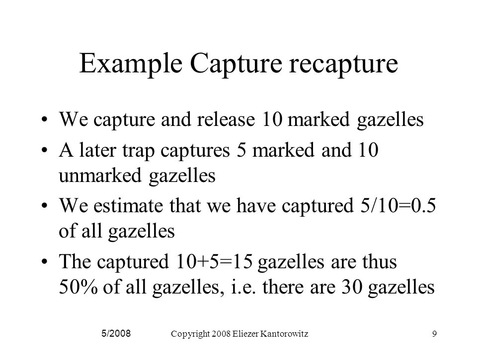 Developing the Estimator 5/2008Copyright 2008 Eliezer Kantorowitz20 where