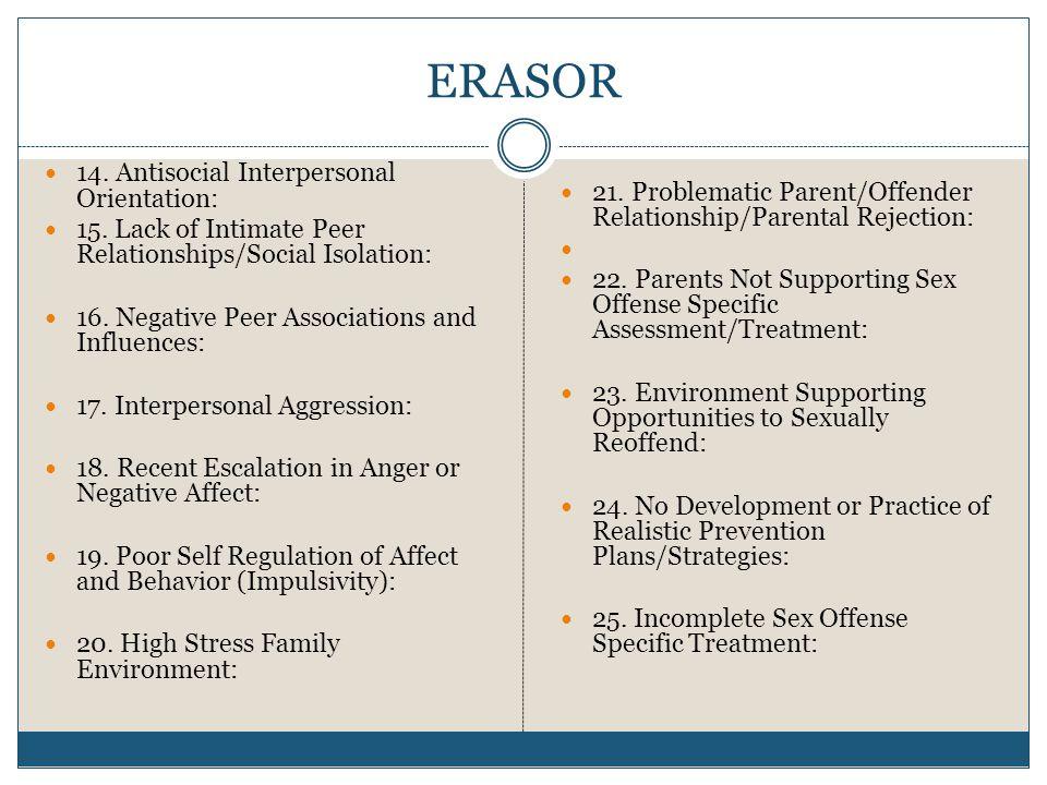 ERASOR 14.Antisocial Interpersonal Orientation: 15.