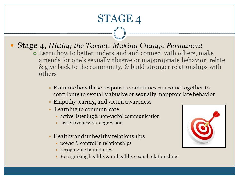 STAGE 4 Stage 4, Hitting the Target: Making Change Permanent Learn how to better understand and connect with others, make amends for one's sexually abusive or inappropriate behavior, relate & give back to the community, & build stronger relationships with others Examine how these responses sometimes can come together to contribute to sexually abusive or sexually inappropriate behavior Empathy,caring, and victim awareness Learning to communicate active listening & non-verbal communication assertiveness vs.