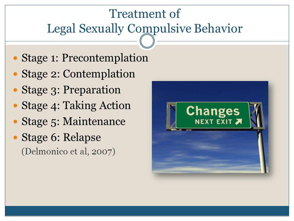 Stage 1: Precontemplation Stage 2: Contemplation Stage 3: Preparation Stage 4: Taking Action Stage 5: Maintenance Stage 6: Relapse (Delmonico et al, 2007)