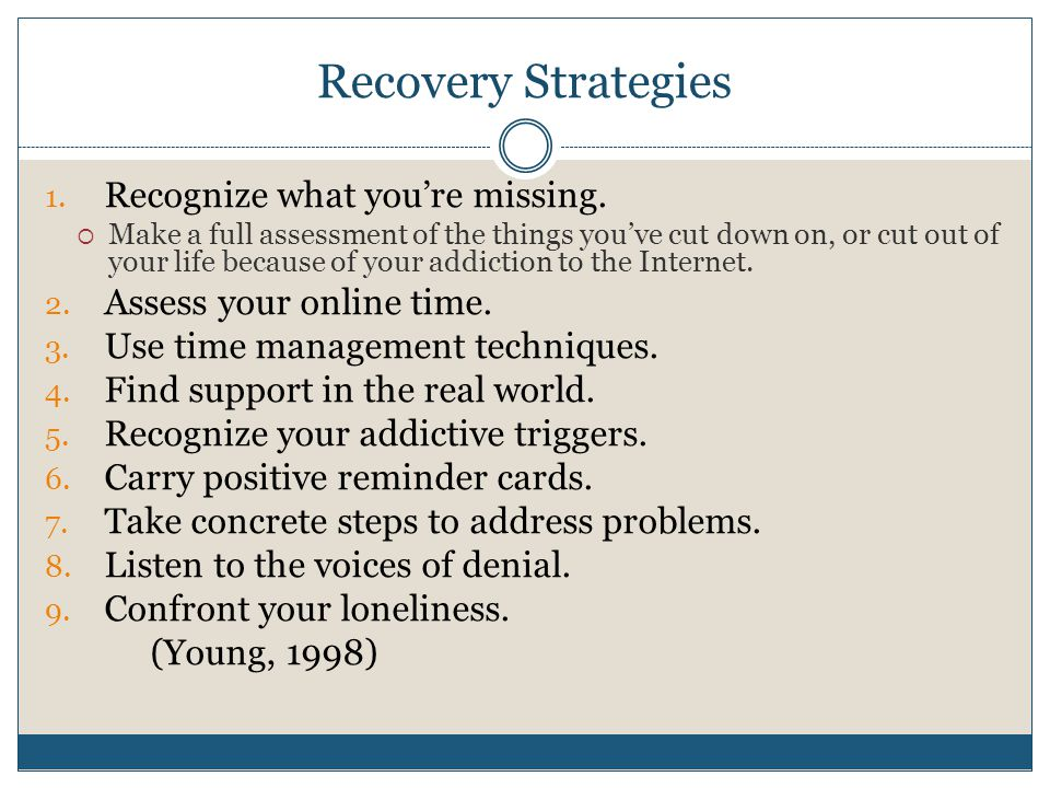 Recovery Strategies 1.Recognize what you're missing.