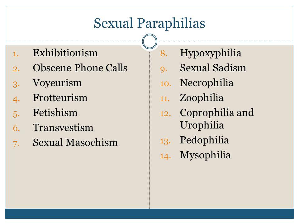 Sexual Paraphilias 1.Exhibitionism 2. Obscene Phone Calls 3.