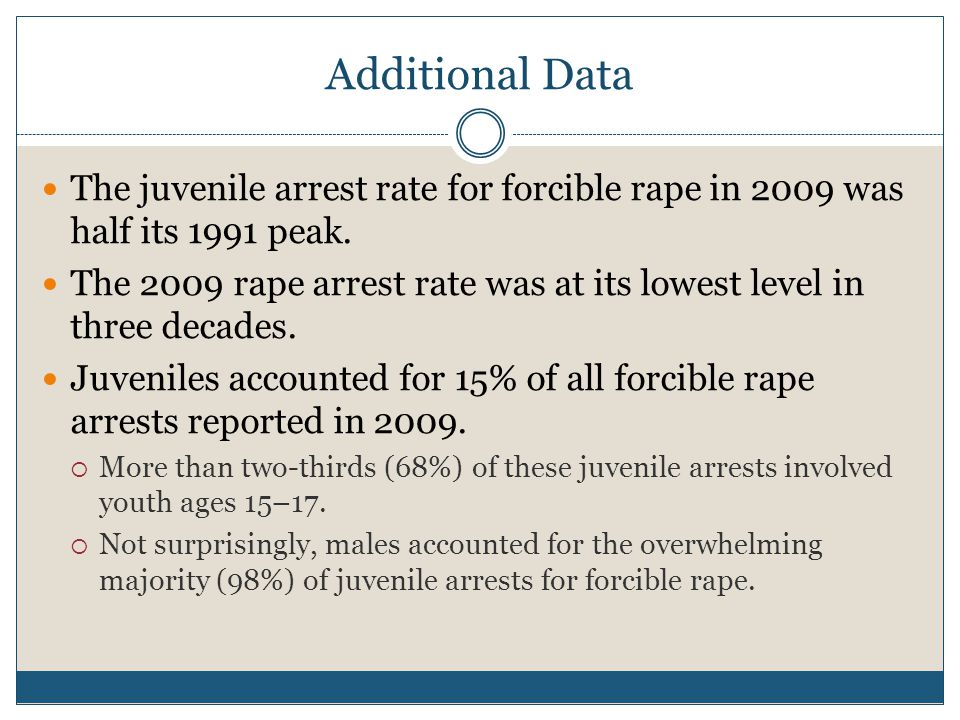 Additional Data The juvenile arrest rate for forcible rape in 2009 was half its 1991 peak.