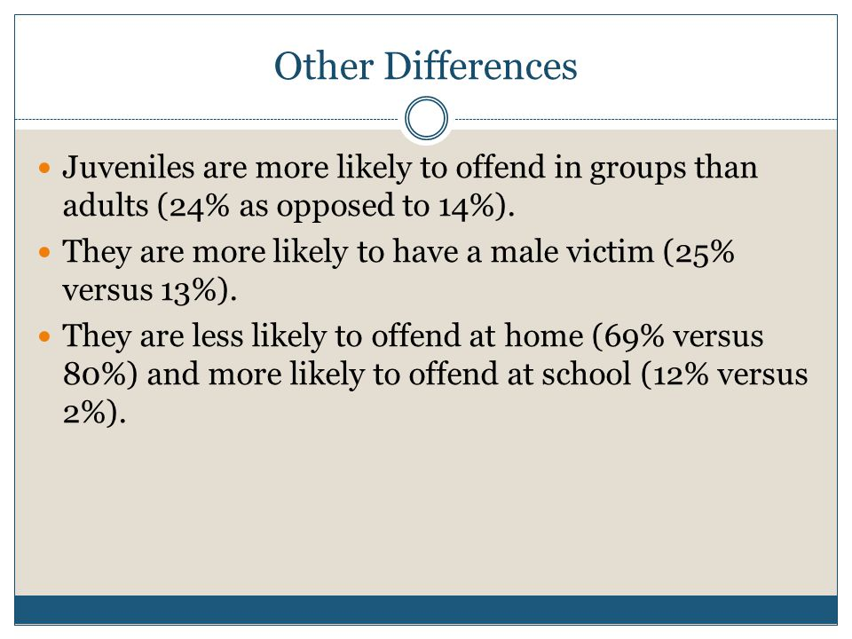 Other Differences Juveniles are more likely to offend in groups than adults (24% as opposed to 14%).