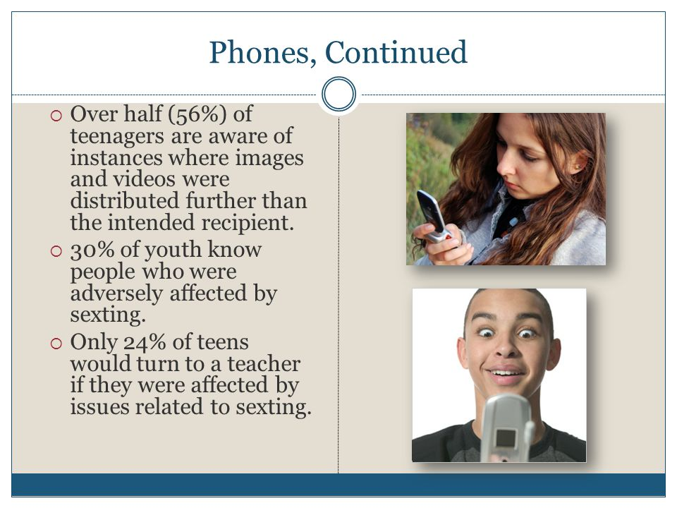 Phones, Continued  Over half (56%) of teenagers are aware of instances where images and videos were distributed further than the intended recipient.