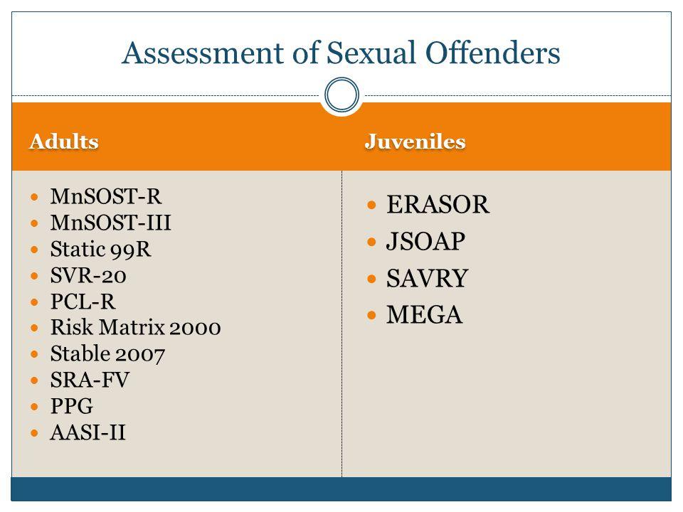 Adults Juveniles MnSOST-R MnSOST-III Static 99R SVR-20 PCL-R Risk Matrix 2000 Stable 2007 SRA-FV PPG AASI-II ERASOR JSOAP SAVRY MEGA Assessment of Sexual Offenders