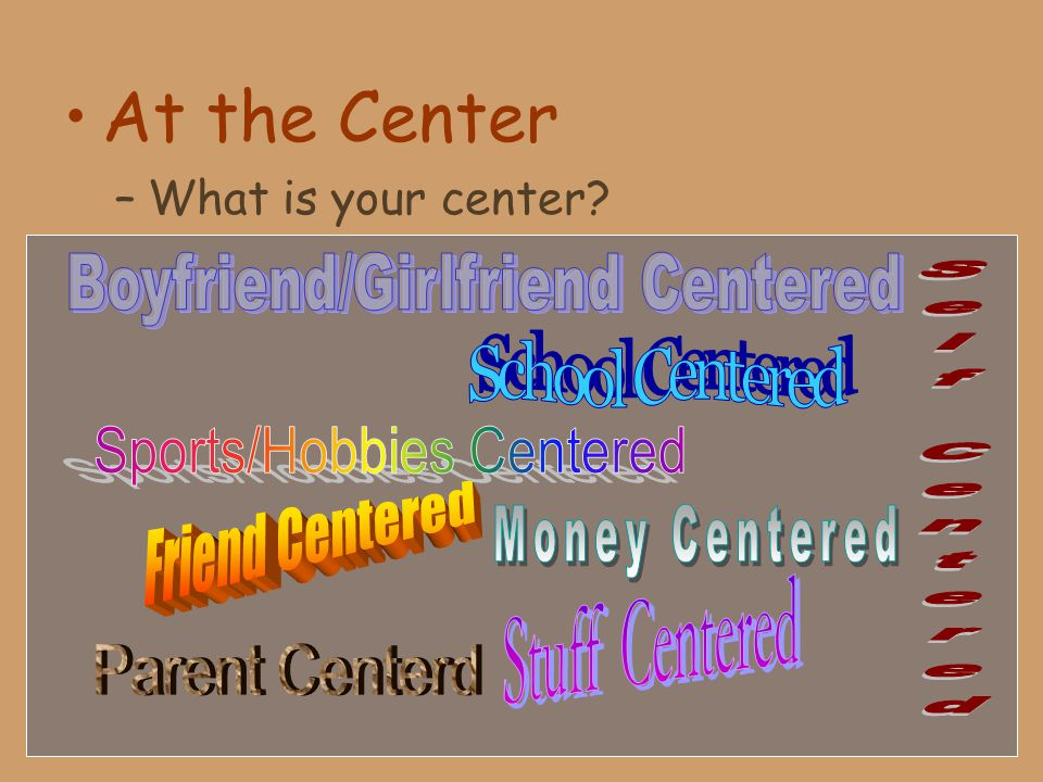 At the Center –What is your center?