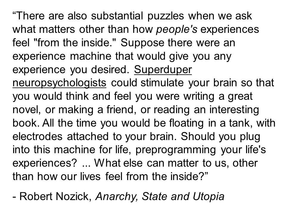 """""""There are also substantial puzzles when we ask what matters other than how people's experiences feel"""