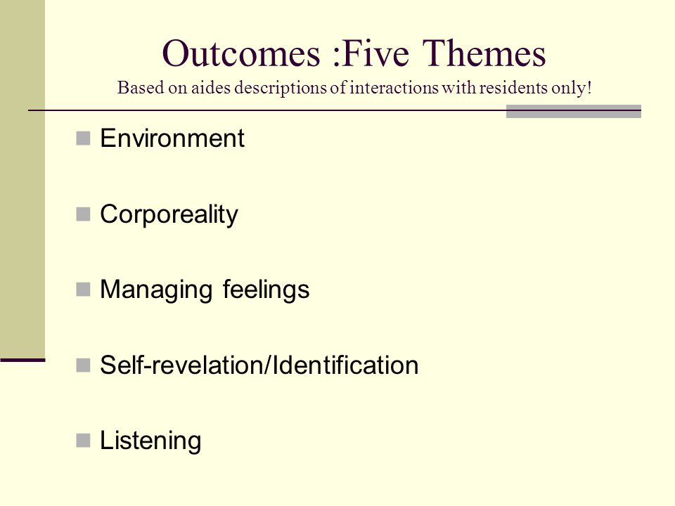Outcomes :Five Themes Based on aides descriptions of interactions with residents only! Environment Corporeality Managing feelings Self-revelation/Iden