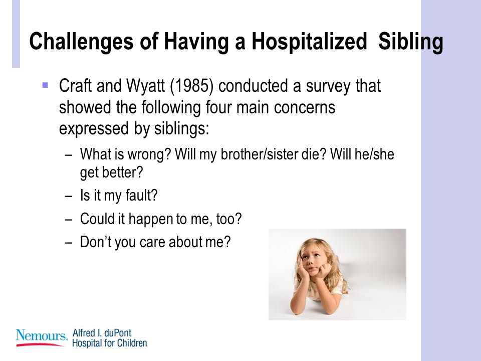 Challenges of Having a Hospitalized Sibling  Craft and Wyatt (1985) conducted a survey that showed the following four main concerns expressed by siblings: –What is wrong.