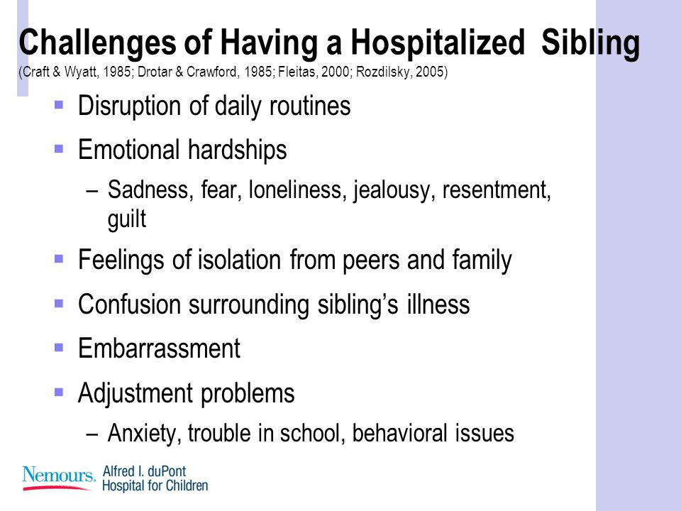 Challenges of Having a Hospitalized Sibling (Craft & Wyatt, 1985; Drotar & Crawford, 1985; Fleitas, 2000; Rozdilsky, 2005)  Disruption of daily routines  Emotional hardships –Sadness, fear, loneliness, jealousy, resentment, guilt  Feelings of isolation from peers and family  Confusion surrounding sibling's illness  Embarrassment  Adjustment problems –Anxiety, trouble in school, behavioral issues