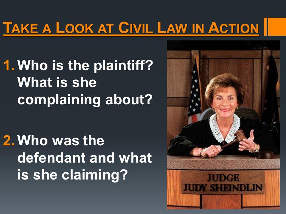 T AKE A L OOK AT C IVIL L AW IN A CTION 1.Who is the plaintiff.